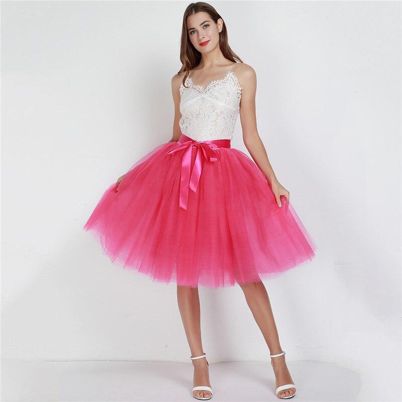 Womens Lolita Petticoat Bridesmaids Vintage Midi Skirt Jupe Saias Faldas 6Layers 65cm Fashion Tulle Skirt Pleated Tutu Skirts