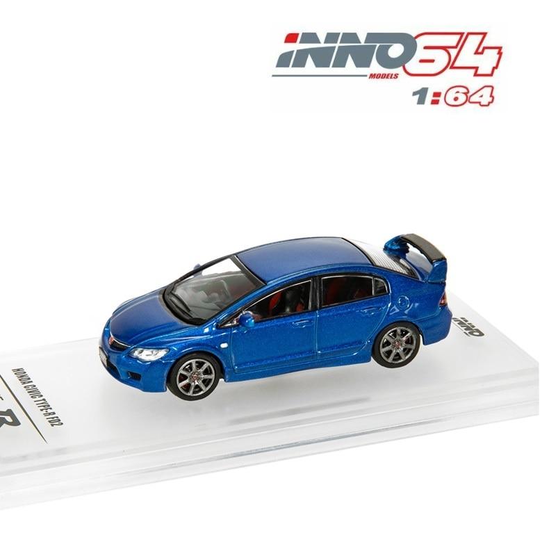 INNO64 1:64 Honda Civic FD2 2007 Blue Silver Die-cast Model Car