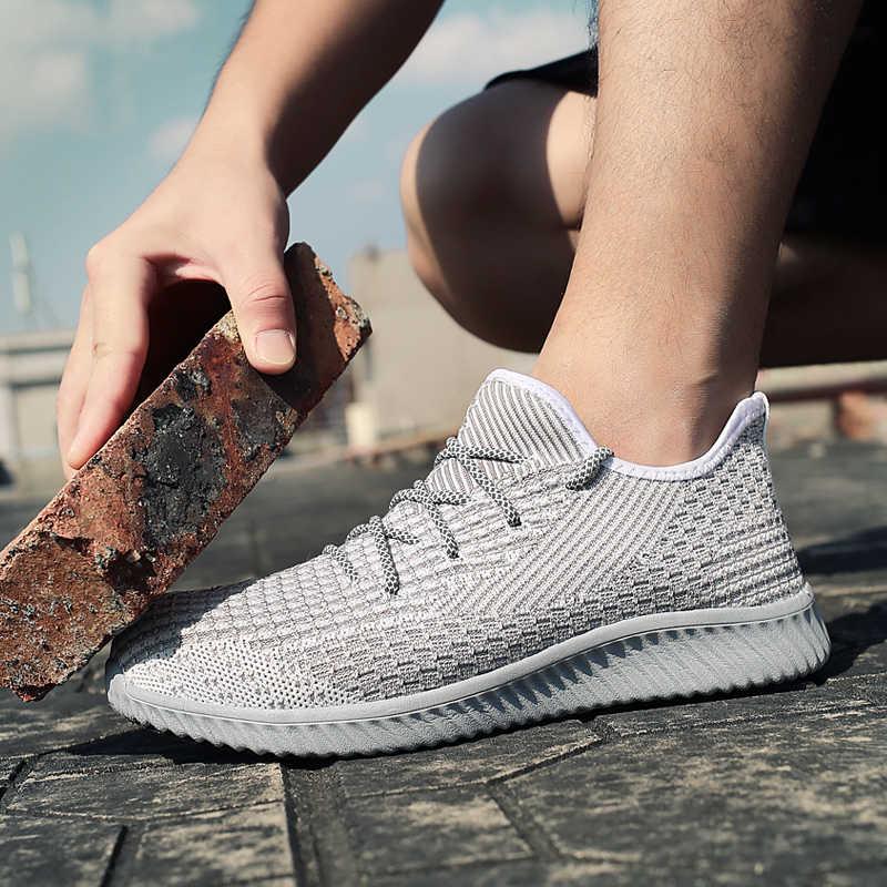 Çelik ayak erkekler İş güvenliği botları çok hafif erkek İnşaat botları rahat spor ayakkabılar siyah gri çelik burunlu ayakkabı