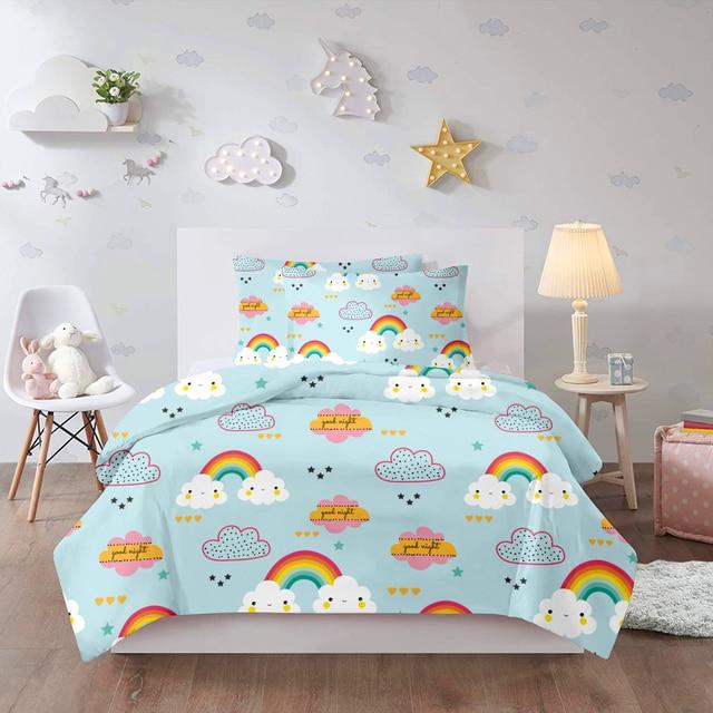 3d Cartoon Rainbow Bedding Set Kids Children Girls Pink Colorful Twin Single Duvet Cover Cute Bed Linen Comforter Home Textile Bedding Sets Aliexpress
