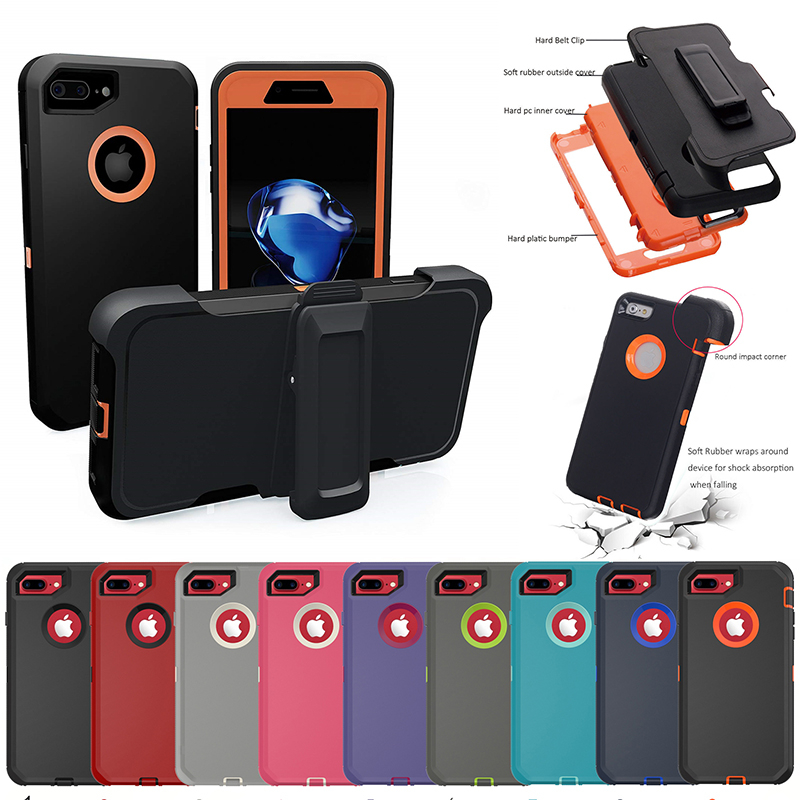 For <font><b>iPhone</b></font> 11 Pro <font><b>X</b></font> <font><b>XS</b></font> Max XR 6 6S 7 8 Plus 5s SE 3 in 1 Rubber Hybrid Heavy Shockproof Full Coverage Case Cover with <font><b>Belt</b></font> Clip image