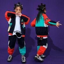 Модная детская одежда в стиле хип-хоп, топ, пуловер с карманом, повседневные штаны для девочек и мальчиков, Джазовый танцевальный костюм