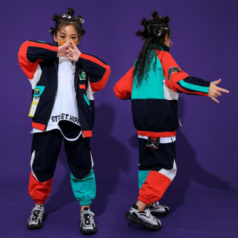 Kid Fashion Cool Hip Hop Clothing  Top Pullover Pocket Running Casual Pants For Girls Boys Jazz Dance Costume Clothes