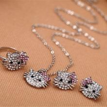 Hello kitty комплект украшений для детей модные комплекты ювелирных изделий с кристаллами Женские аксессуары металлическое модное ожерелье серьги кольца качество