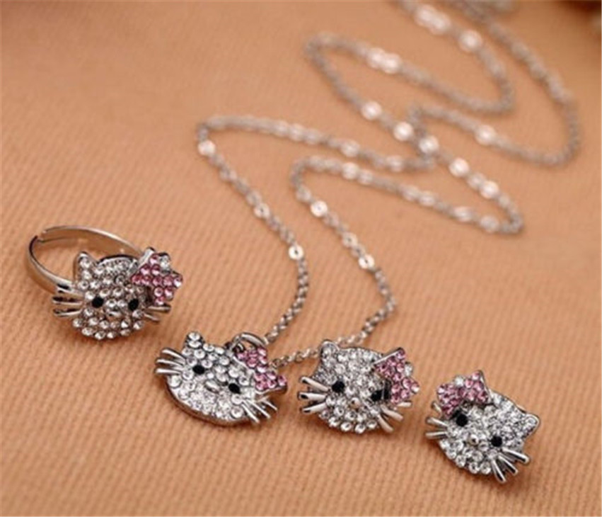 Hello Kitty Girl Kids Jewelry Set Crystal Fashion Jewelry Sets Womens Accessories Metal Fashion Necklace Earring Rings Quality