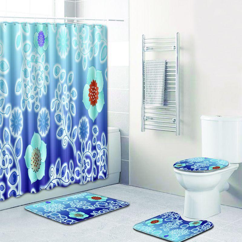 4 pièces/ensemble rideau de douche imperméable à l'eau couverture de siège de toilette tapis de bain tapis moderne Polyester salle de bains rideau écran décor à la maison