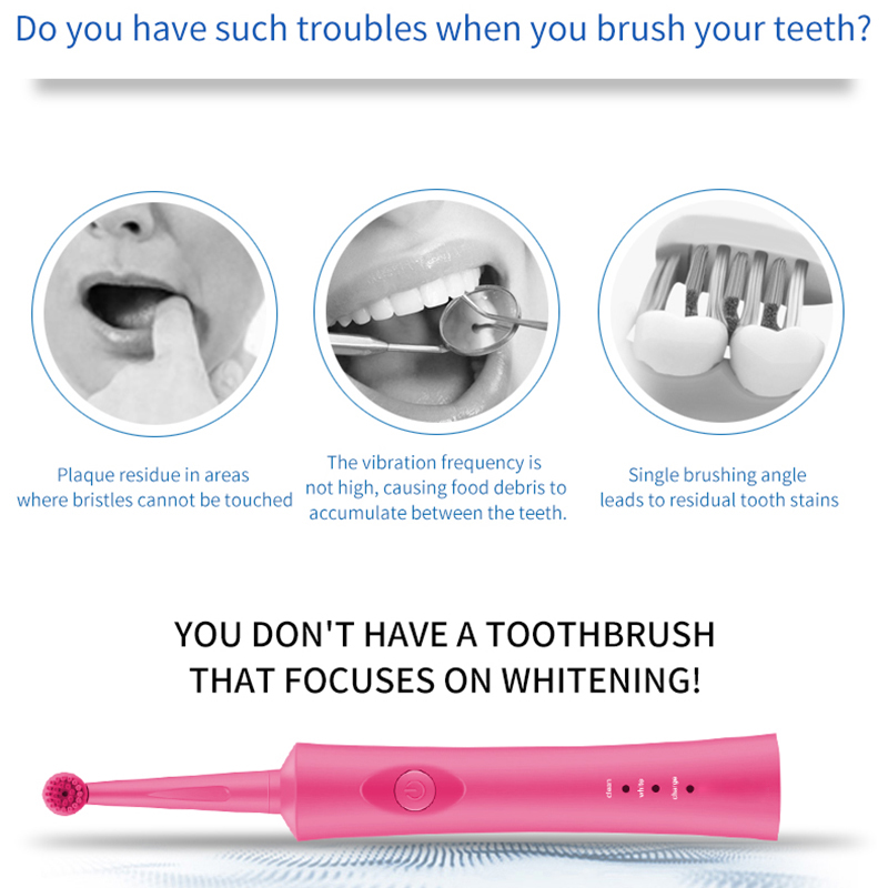 Electric Toothbrush Ultrasonic Rechargeable Rotating Toothbrush Oral Tooth Cleaning Tool with Replacement Toothbrush Head(Black)
