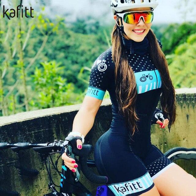 Kafitt pro equipe triathlon conjunto camisa de ciclismo feminino uma peça macacão manga curta macaquinho conjunto feminino gel almofada 4