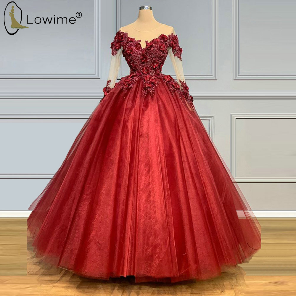 Puffy A Line Bugundy Applique Evening Dresses Illusion O Neck Long Sleeve Beaded Robes Prom Party Gowns Vestidos De Noche