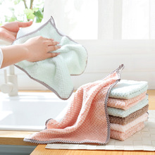 5 PCS Solid Color Coral Fleece Double-Sided Absorbent Rag Thickened Lint-Free Oil-Free Dish Towel Kitchen Dish Cloth E0003 coral velvet bathroom supplies soft hand towel absorbent cloth dishcloths hanging lint free cloth kitchen accessories