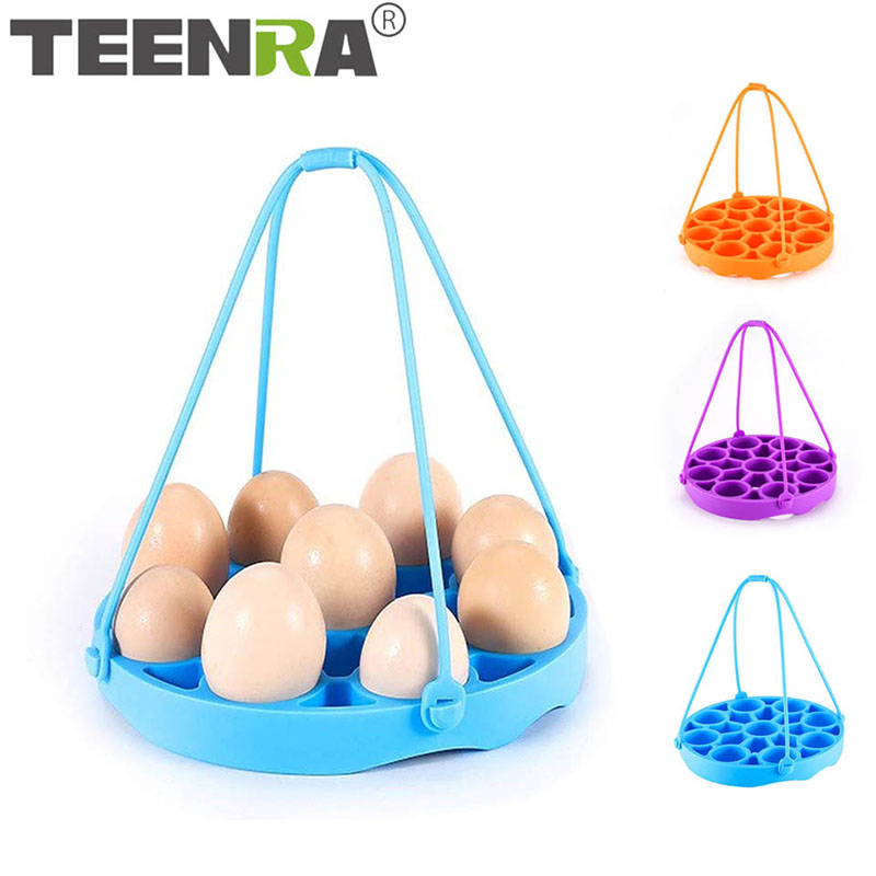 TEENRA Silicone Egg Steamer Rack Multifunctional Steamer Poaching Holder 9 Eggs Trays Egg Round Dish Kitchen Steamer Tools