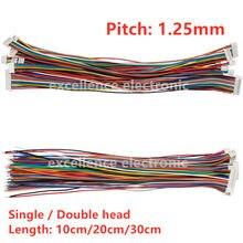 Conector fêmea da tomada do pino de 10 pces mini micro jst 1.25 2/3/4/5/6/7/8/9/10 com fio 1.25mm 10cm 15cm 20cm única/cabeça dobro estanhada