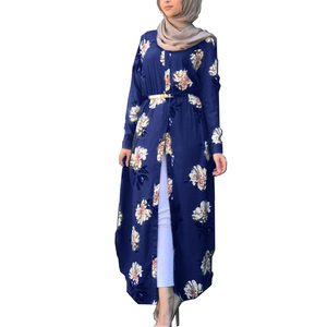 Fashion Robe dubai Printed women's long sleeve tunic casual dress moroccan kaftan modest dress abaya jilbab femme musulman