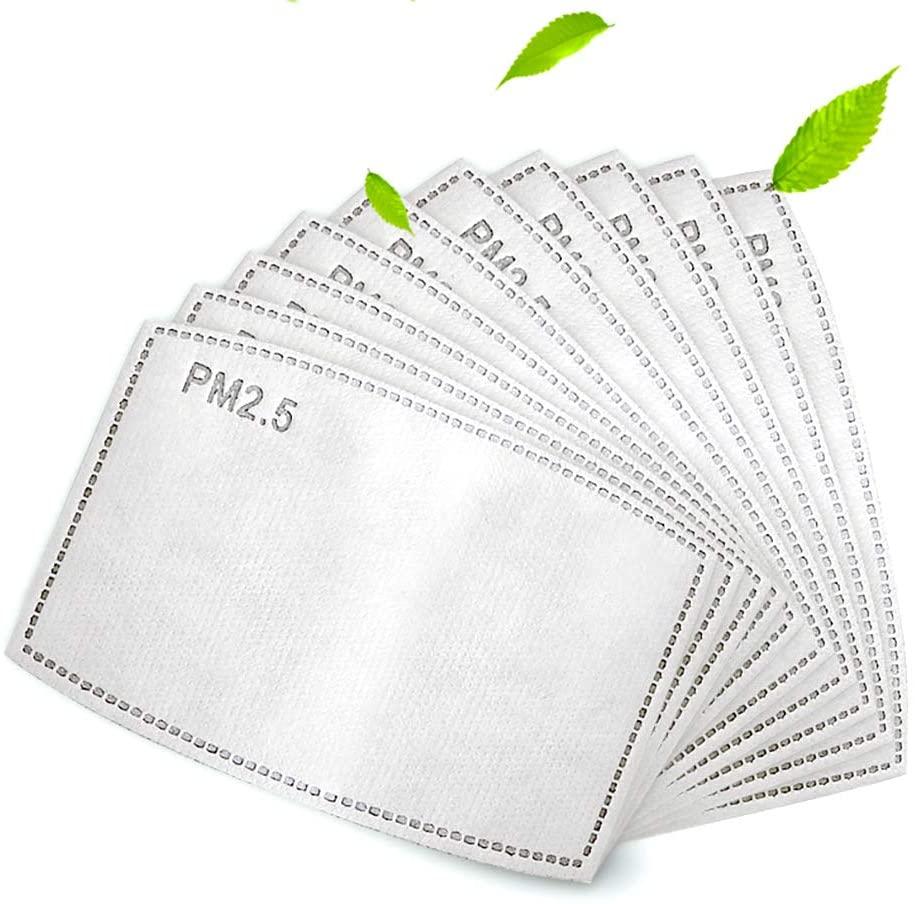 50 Uds PM 2,5 filtro de carbón activado inserte 5 capas, telas no tejidas filtro de algodón, filtro protector para el hogar eterno tamaño adulto