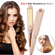 Professional 2 in 1 Hair Straightener Curler Gold Plated Twist Curling & Straightening Flat Iron Wet Dry Styler