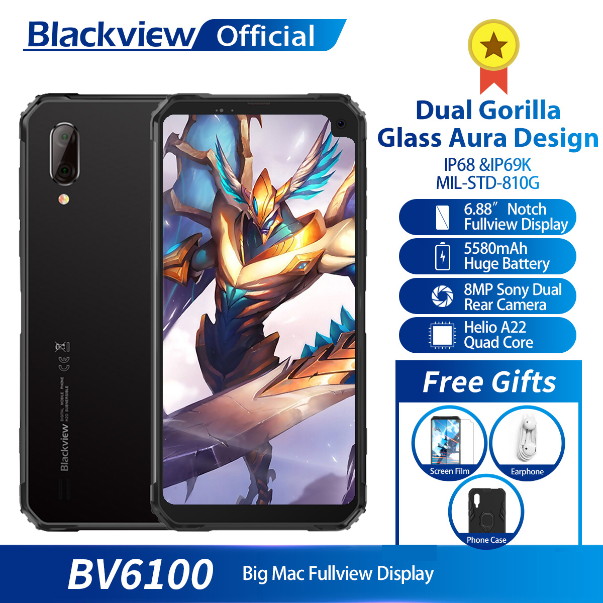 Фото. Blackview BV6100 IP68 водонепроницаемый мобильный телефон 3 ГБ + 16 ГБ Android 9,0 открытый мобильны