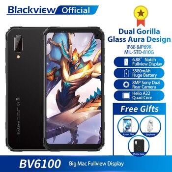 Перейти на Алиэкспресс и купить Blackview BV6100 IP68 водонепроницаемый мобильный телефон 3 ГБ + 16 ГБ Android 9,0 открытый мобильный телефон 6,88 дюймэкран 5580 мАч прочный смартфон