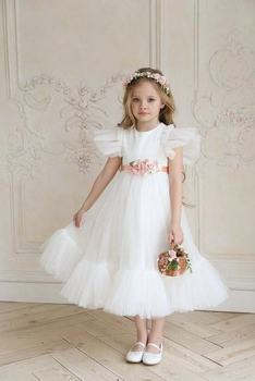 3231 Sweet Butterfly Embroidery Wings Princess Baby Girl Dress Summer Wedding Party Kids Dress For Girls Wholesale baby clothes