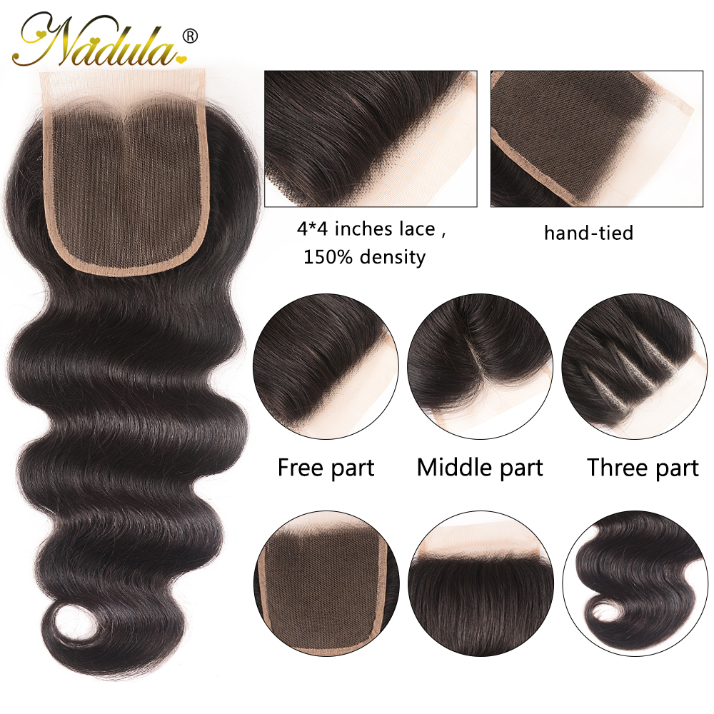 Nadula Hair 4*4 Middle /Free Part  Body Wave Hair Closure 100%   Hair Swiss Lace Closure 10-20inch 4