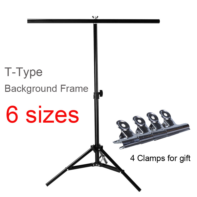 Photo Studio T-type Metal Background Frame PVC Backdrop Support Holder Stand Photography With 4 Clamps For Matting Cutout
