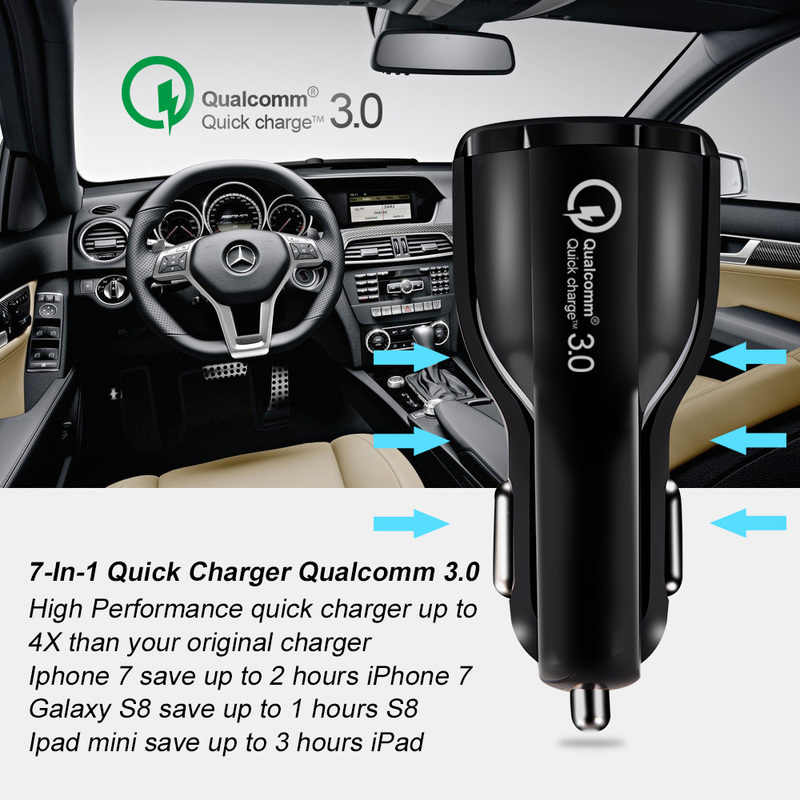 USB Charger Mobil Pengisian Cepat 3.0 Mobile Phone Charger 2 Port Cepat Charger Mobil untuk iPhone 6 6 S 7 8 Plus X Max Tablet Mobil Charger