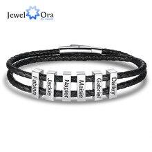 JewelOra personalizado grabado Vertical 2-6 Bar pulseras para hombres personalizado nombre de familia pulsera de cuero de acero inoxidable de regalo
