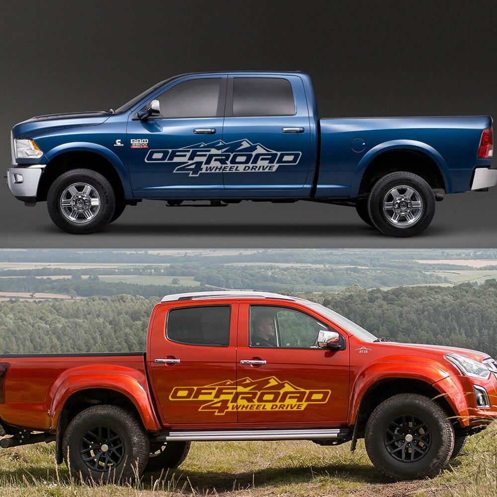 2 sztuk dla Ford Ranger Raptor Pickup Isuzu Dma Nissan NAVARA Toyota Hilux Tacoma samochód diy boczna naklejka Off Road 4X4 akcesoria samochodowe