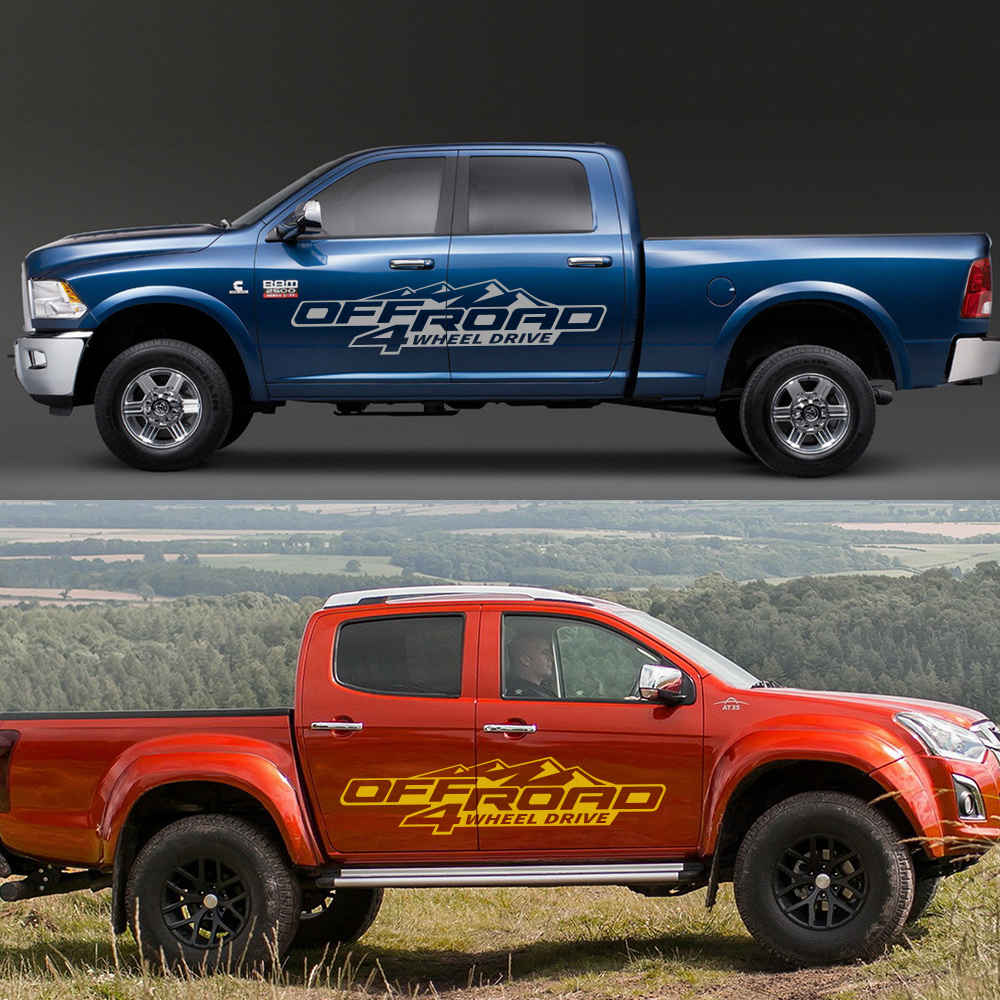 2Pcs Für Ford Ranger Raptor Pickup Isuzu Dma Nissan NAVARA Toyota Hilux Tacoma DIY Auto Seite Aufkleber Off Road 4X4 Auto Zubehör