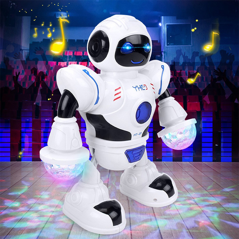 White LED Robot Toy Dancing Robot Xmas Gifts Indoor Novelty Decor Dance Kids Durable Music Robot Beautiful Shiny