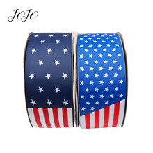 JOJO BOWS 75mm 2y Grosgrain Stain Ribbon For Crafts National Flag Printed Tapes Needlework DIY Hair Bows Holiday Decoration