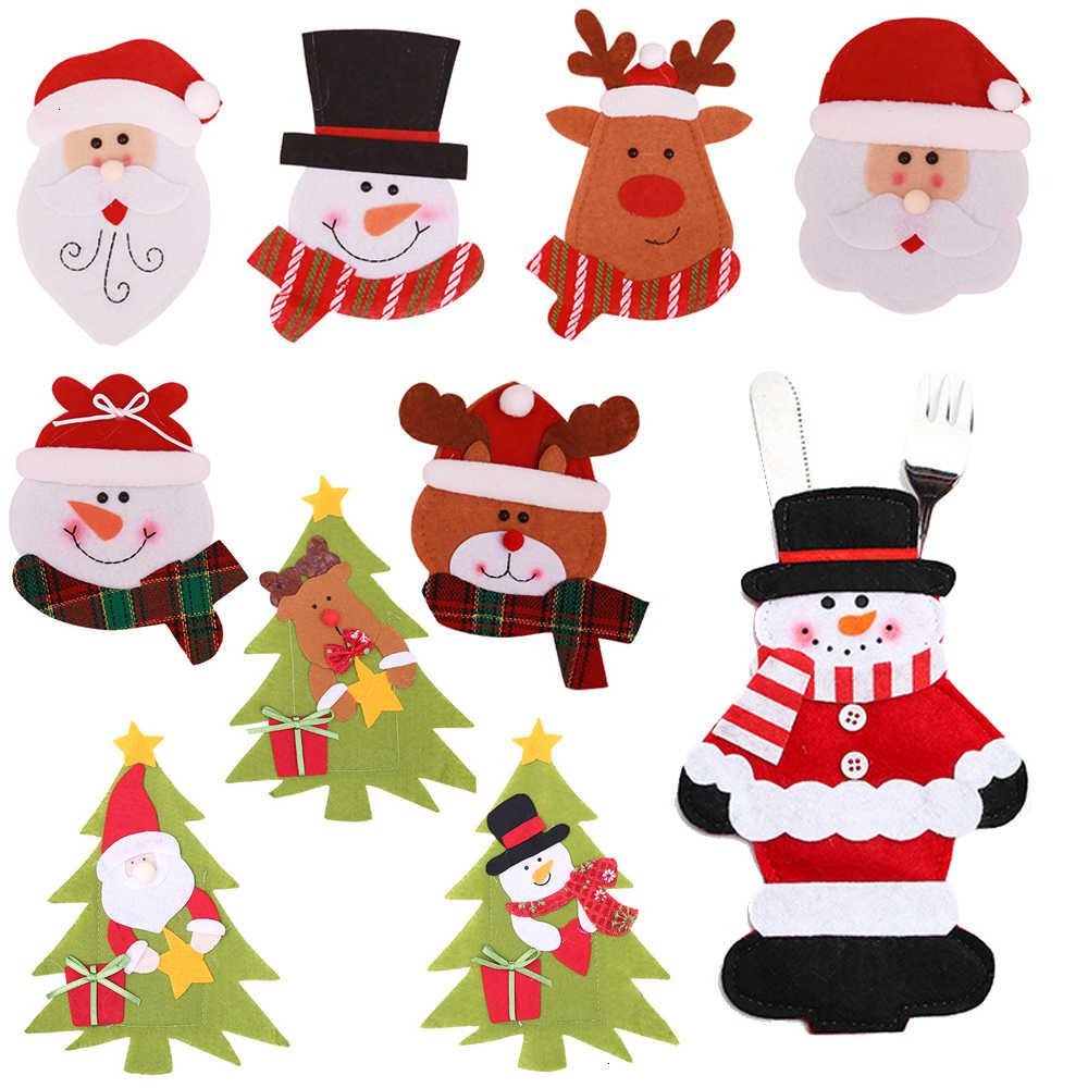 """סנטה כובע איילי חג המולד 2020 חדש שנה כיס מזלג סכין סכו""""ם מחזיק תיק בית המפלגה שולחן ארוחת ערב קישוט כלי שולחן"""