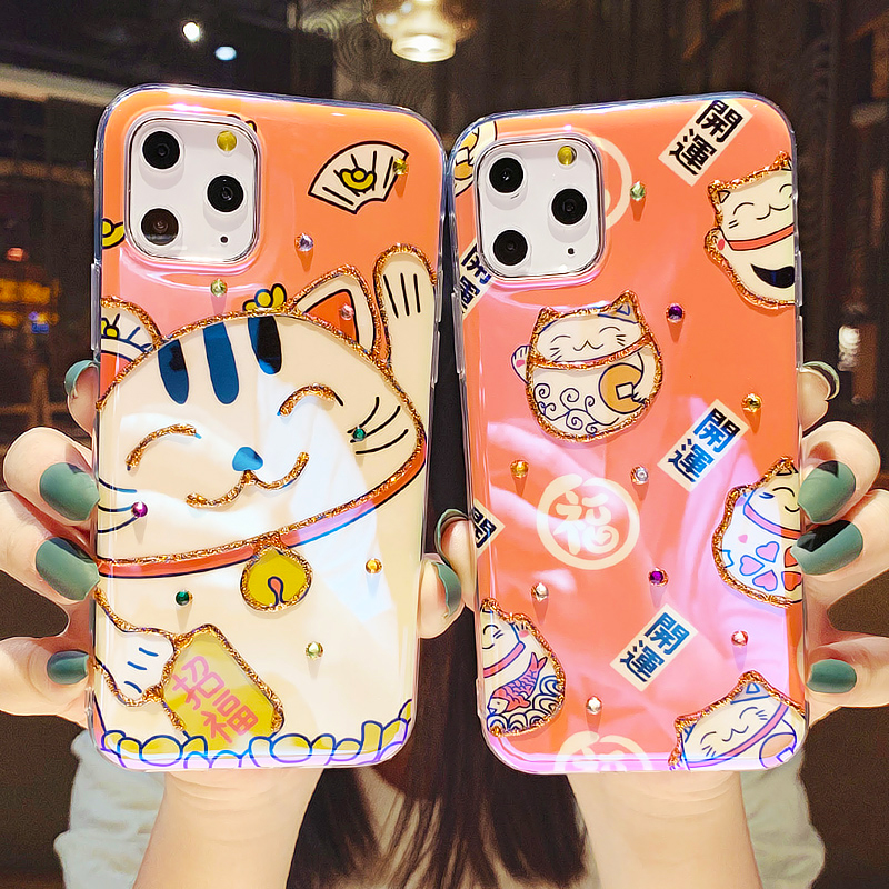 Cartoon Cute Lucky Cat Glitter Shining Diamond Case For Iphone 11 Pro Max Silicone Cover Luxury Soft Shell Glossy Phone Cases