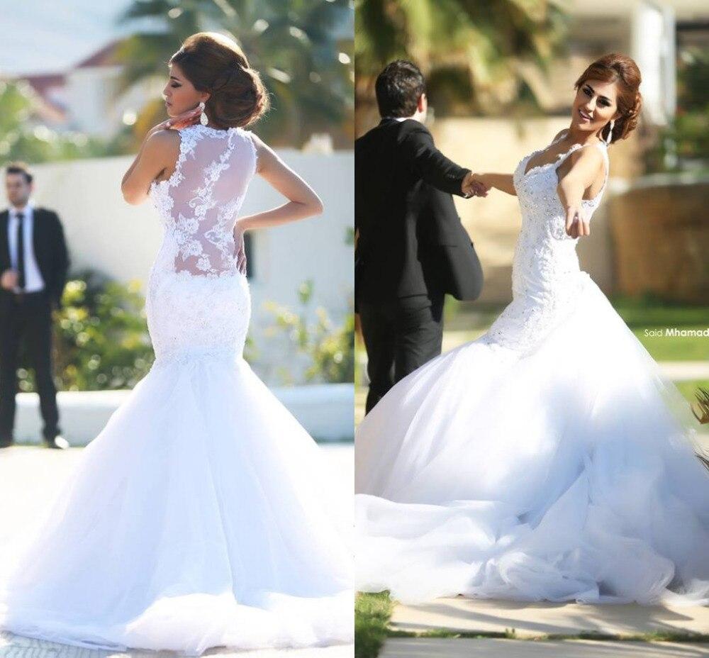 Fashionable Vestido De Novia Mermaid White With Detachable Train Bride Vestidos New Bridal Gowns 2019 Hot Sale Bridesmaid Dress
