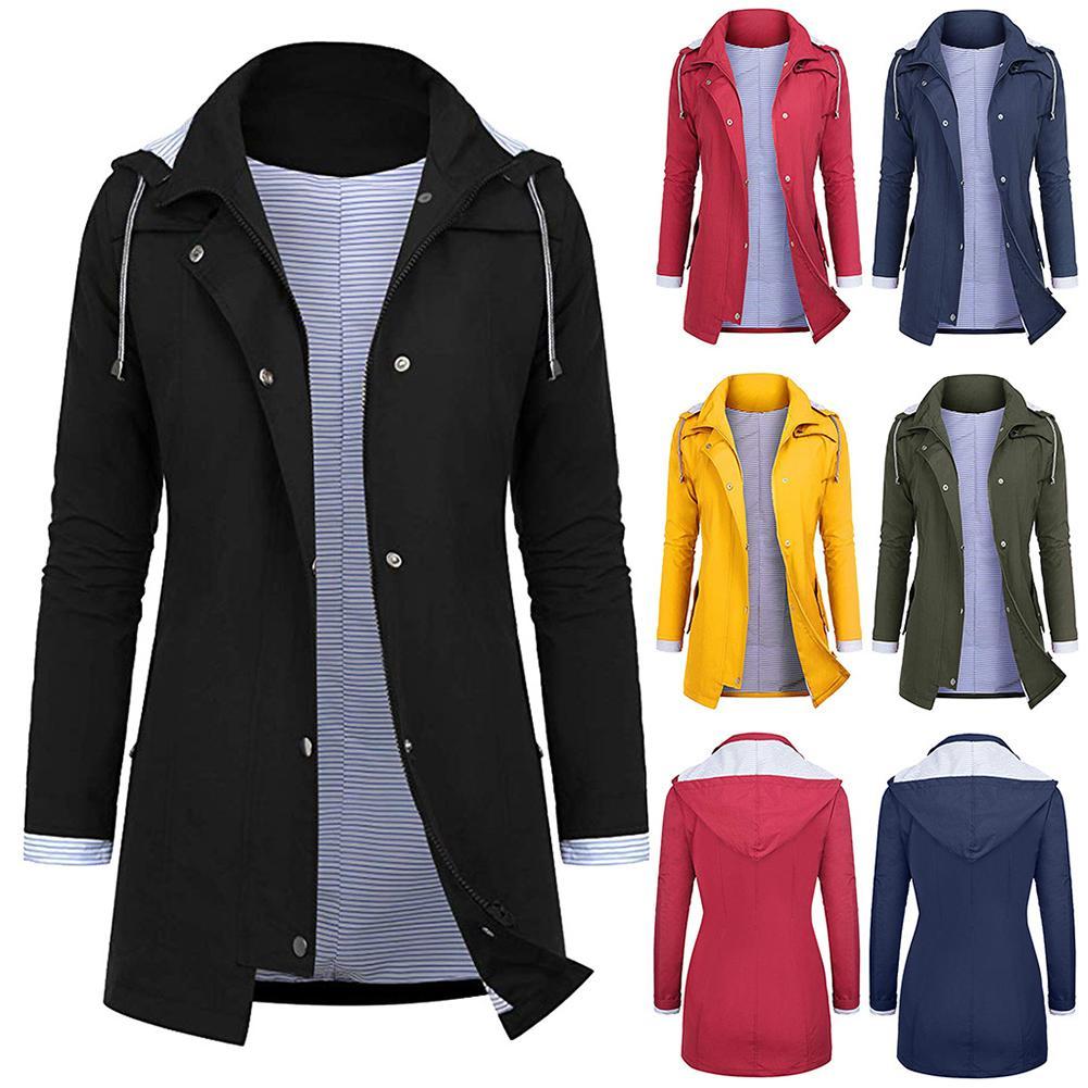 Fashion Plus Size Women Windbreaker Trench Coat Waterproof Solid Color Coat For Women Fashion Feminina Tight Waist Hooded Coat