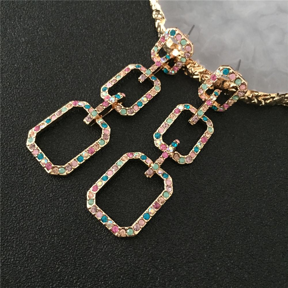 New Fashion <font><b>Elegant</b></font> <font><b>Drop</b></font> <font><b>Earrings</b></font> <font><b>Gold</b></font> Color Alloy with Rainbow Glass Linked 3 Squares Dangle <font><b>Earrings</b></font> for Women party <font><b>Jewelry</b></font> image