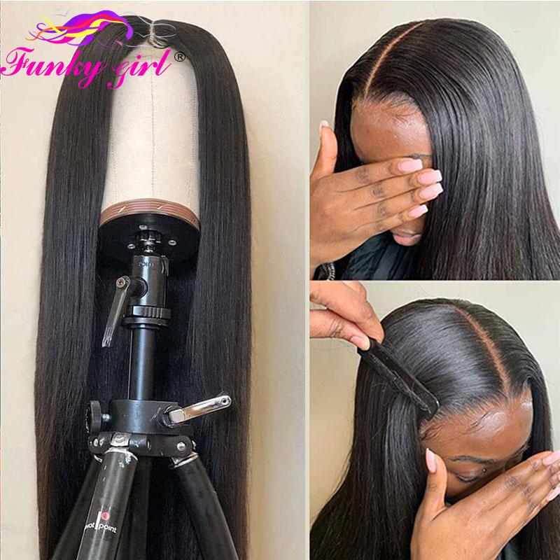 Peruano em linha reta 13x1 & 6x1 t parte perucas do laço 150% peruano cabelo humano em linha reta perucas com laço suíço pré arrancado remy cabelo