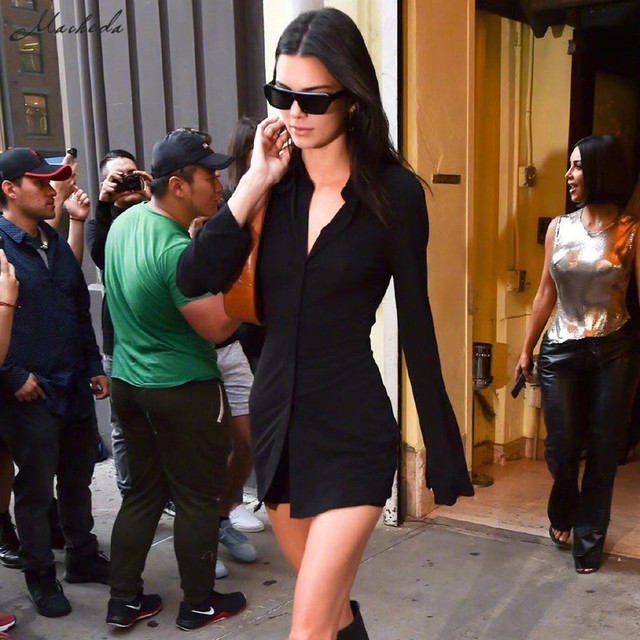 Kendall Jenner Outfit Long Shirt Top Back Hollow Shirt Slim Casual Office Winter Basics Blouses 3