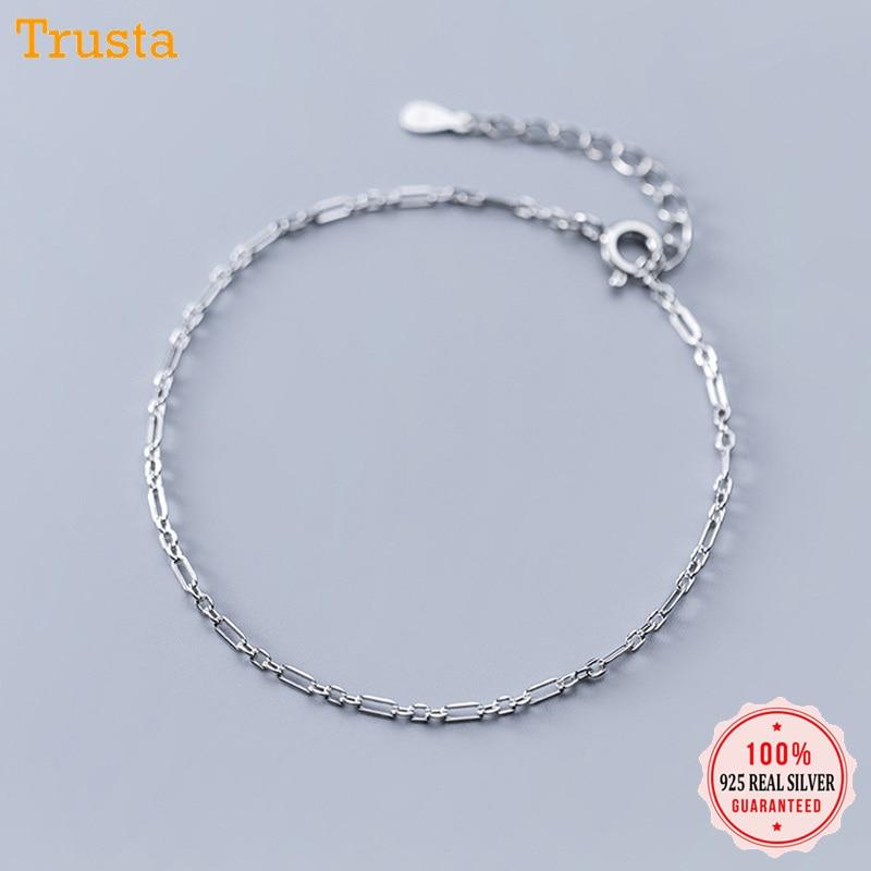 Trustdavis 100% 925 Solid Sterling Silver Fashion Jewelry Chain 23cm Bracelet Anklets For Women Wife Best Friend DA263