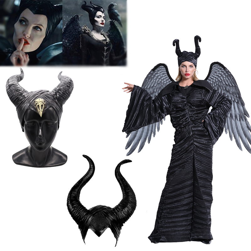 Maleficent Horns Costumes Mask Wings Cosplay Props Headgear Black Queen Helmet Cap Angel Demon Wings