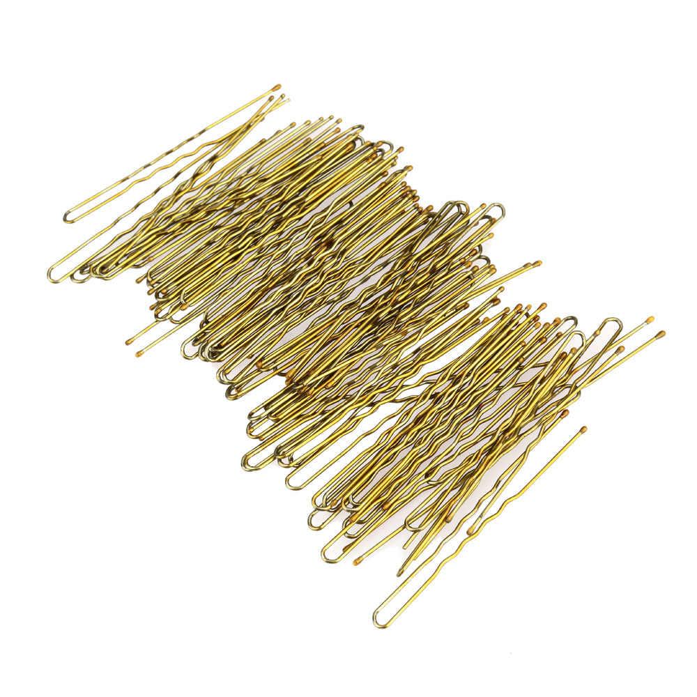 300 unids/set metálica delgada de la forma de U horquillas de oro mujeres Bobby pelo Clips de pelo de la belleza herramientas 3 tamaño