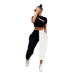 Women Jogger Pants High-Waist Trousers Black White Patchwork Casual Loose Slimming Wear Sports Girl's Bottoms
