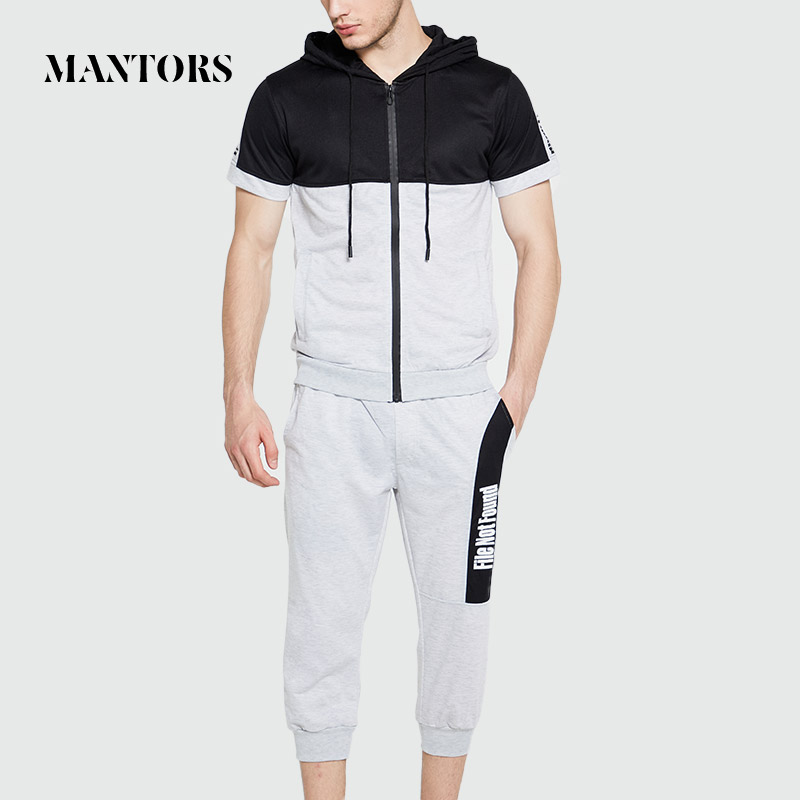New Trend Men Sets Casual Tracksuit Solid Patchwork Zipper Summer Men's Streetwear Sweatshirt+Shorts 2 Piece Sport Suit Clothing