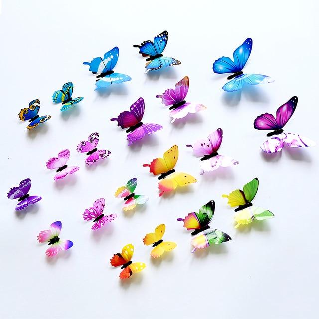 12pcs Luminous Butterfly Design Decal Art Wall Stickers Room Butterflies Home Decor DIY Stickers 3D Fridge Wallpaper Decoration 5