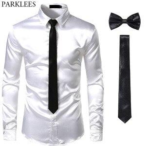 Image 4 - Мужская шелковая рубашка s, черная классическая рубашка из гладкого атласа, 3 шт. (рубашка + галстук + бабочка), приталенная Повседневная рубашка для вечеринки и выпускного вечера