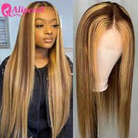 Pelo AliPearl destacar de pelucas de cabello humano #4/27 brasileño recto T malla con división peluca Pre-arrancado pelo Remy Ombre Peluca de encaje