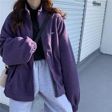 Kadın fermuar cep ceketler mektup baskılı uzun kollu gevşek yaka ceketler artı kadife rahat sonbahar kış sokak tişörtü