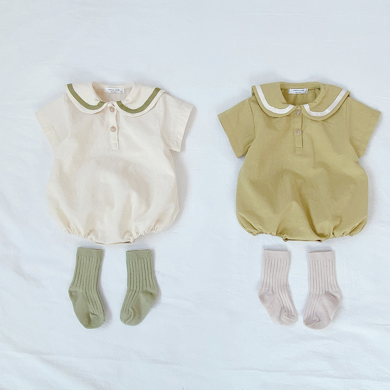 MILANCEL Summer Baby Clothes Salior Collar Baby Boys Bodysuits Short Sleeve Infant Girls Outfit