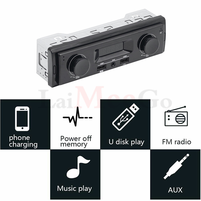 12V LED Display 1 Din Car Radio MP3 Player Vehicle Stereo Audio In-Dash USB Aux Input Receiver No Bluetooth Remote Control (12)