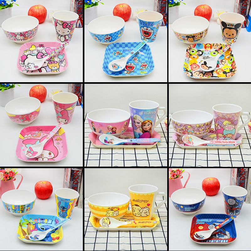 4pc/set Baby Cartoon Melamine Bowls , Spoon,cups,plate Kid Anti-broken Food Feeding Products