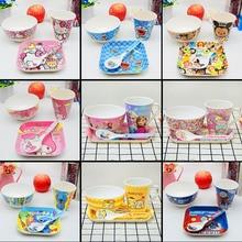 4pc/set baby cartoon Melamine Bowls , spoon,cups,plate Kid a